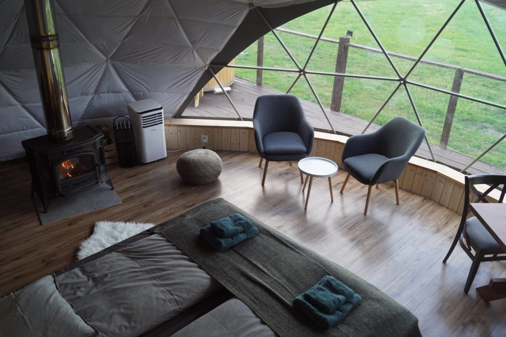 interior of glamping dome tent