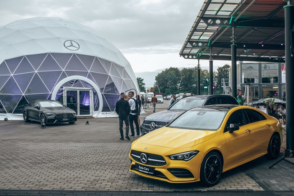 temporary car showroom for Mercedes