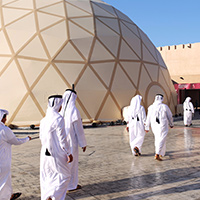 On August 21 st, the Polidomes assembly team set off from a Berlin airport to Doha, the capital of Qatar