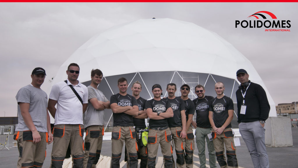 Polidomes team after geodesic dome assembling