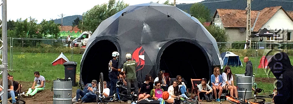 customised black event dome tent at the festival