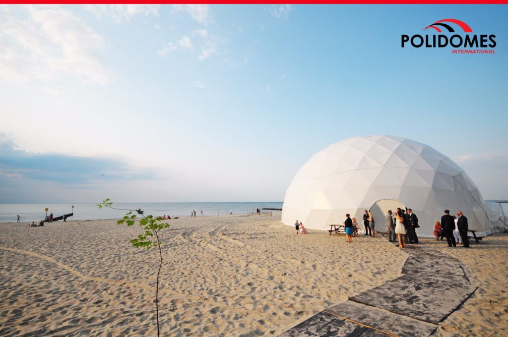 large wedding tent on the beach