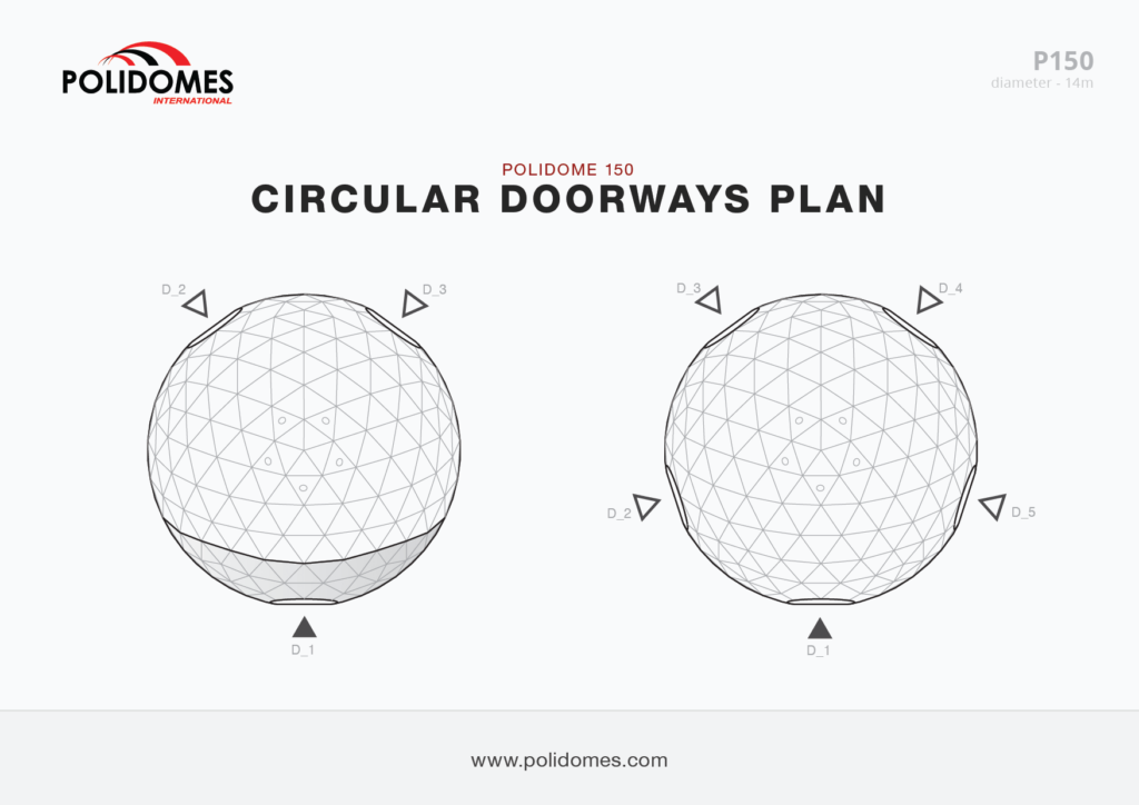 Polidomes event shelter circular doorways plan p150