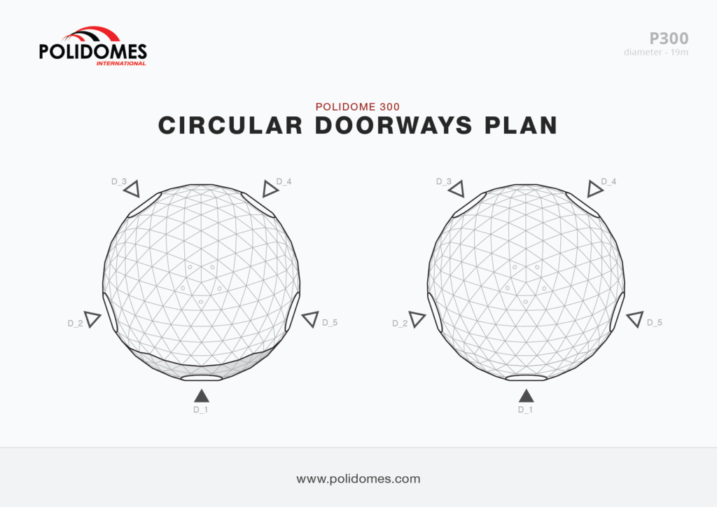 Polidomes event dome circular doorways plan p300