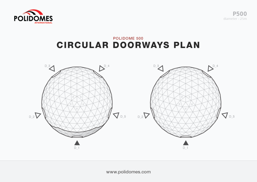 Polidomes event dome marquee circular doorways plan p500