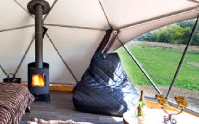 interior of a glamping tent