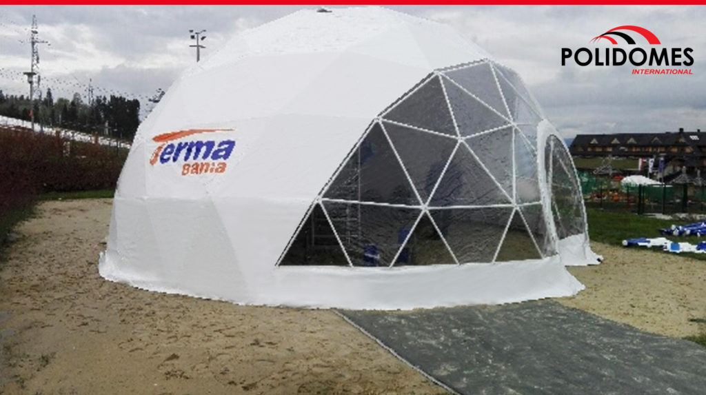 promotional dome tent half-transparent with logo standing on the send