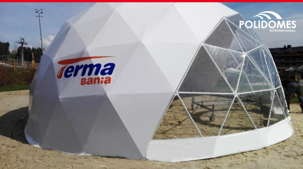 event tent half-transparent with logo standing on the send