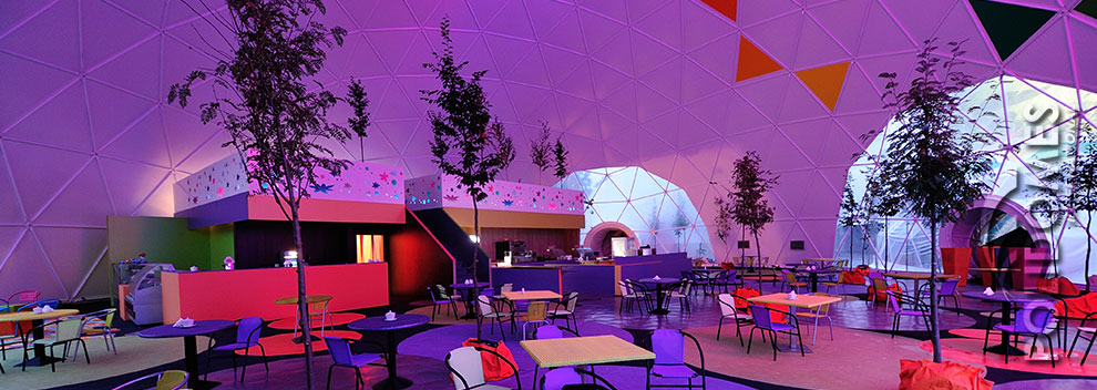 restaurant in a geodesic dome tent