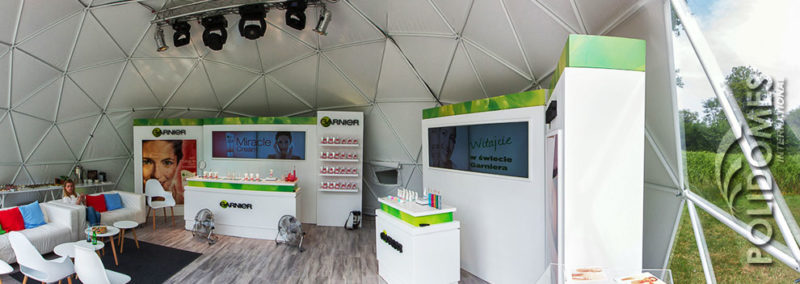 exposition of garnier products in a geodesic dome